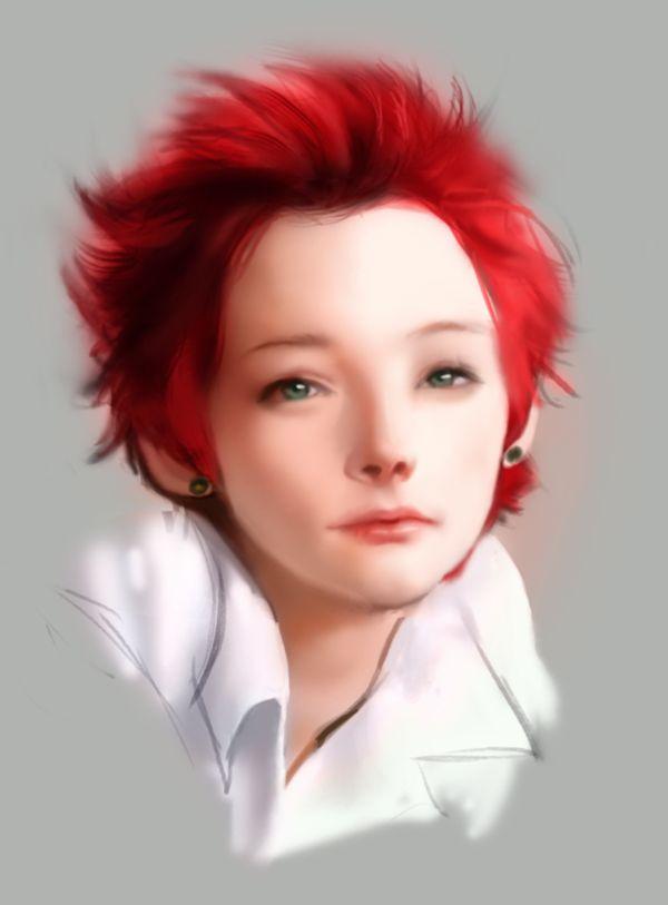Фото девушка с красными волосами и