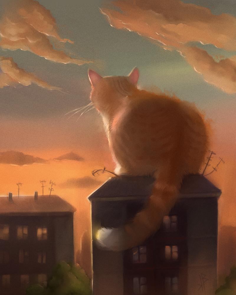 рисунки огромных котов они