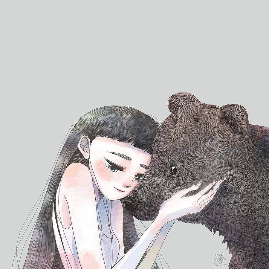 Картинки девочка с медведем нарисованные