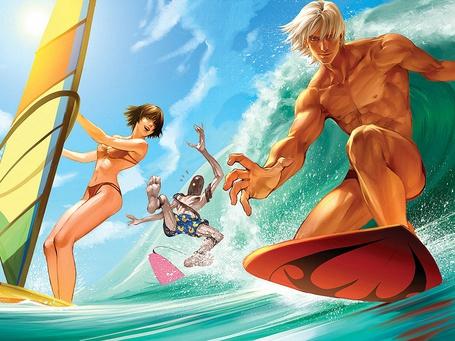 Фото Девушка и мужчины занимаются водным спортом, скимбордингом и виндсерфингом, парень на заднем плане падает в воду, не удержавшись на доске