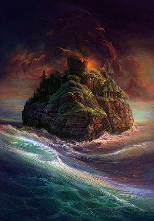 Фото Плывущий по морю каменный остров корабль с дымовой трубой