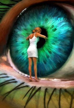 Фото Девушка стоит на веке огромного глаза и заглядывает в черный зрачок с зеленой оболочкой, яркая и фантастическая цифровая живопись Майкла Освальда
