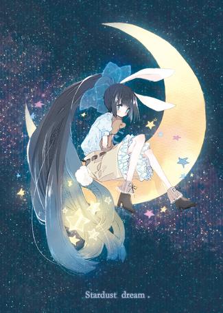 Фото Девушка с кроличьими ушками с плюшевым мишкой сидит на полумесяце (Stardust dream / звездная мечта)