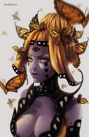 Фото Девушка с третьим глазом на лбу в окружении бабочек