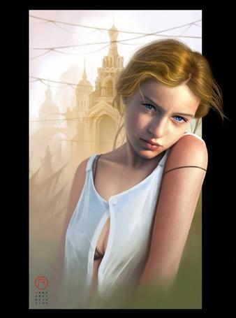 Фото Девушка с голубыми глазами со слезой на лице
