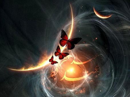 Фото Три бабочки летят на фоне неба с небесными планетами, с абстрактными линиями и свечением