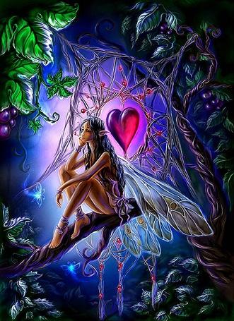 Фото Девушка эльф сидит на ветке дерева, подперев голову рукой, над ней натянуто плетение из лиан с красным сердцем по середине, вокруг летают голубые светящиеся бабочки, художница Uildrim
