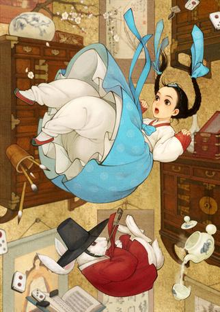 Фото Алиса и Белый кролик из сказки Alice In Wonderland / Алиса в Стране чудес