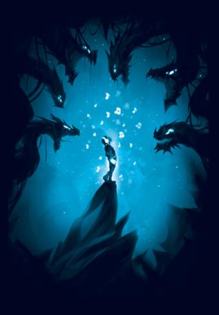 Фото Мальчик слушает музыку в наушниках, в темной пещере, от него отлетают ноты в драконов