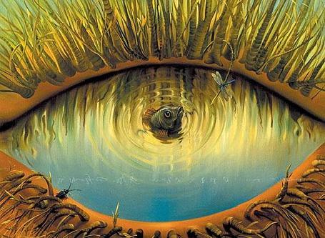Фото В водоеме в виде глаза с ресницами, рыба вынырнув с воды, охотится на стрекозу, сидящую на веточке над водой, художник Kush Vladimir
