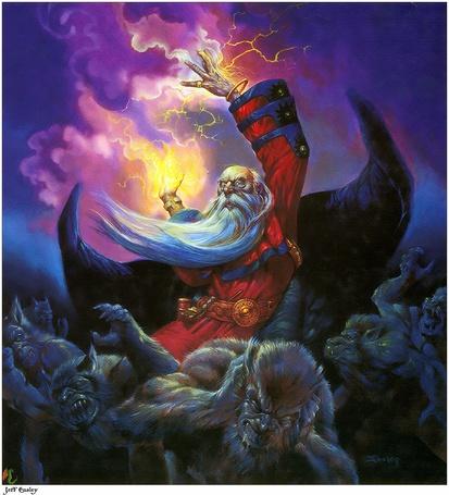 Фото Старик колдун с белой бородой колдует так, что в страхе от него разбегаются все монстры, знаменитый американский художник Джефф Изли / Jeff Easley