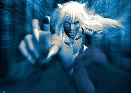 Фото Инуяся из манга-сериала Румико Такахаси Инуяся / InuYasha Пес демон-хранитель мчится вперед, выставив руку