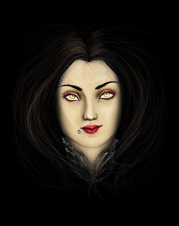 Фото Цифровая живопись, желтоглазая девушка со слезами на лице, автор Samornia