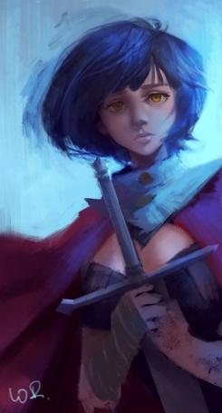 Фото Девушка с синими волосами, держит в руках меч