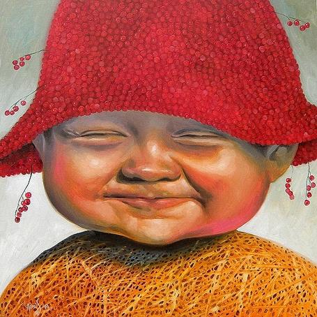 Фото Мальчик в шляпе из красных ягод с довольной улыбкой на лице, художник Лаймонас Шмергялис / Laimonas Еmergelis/