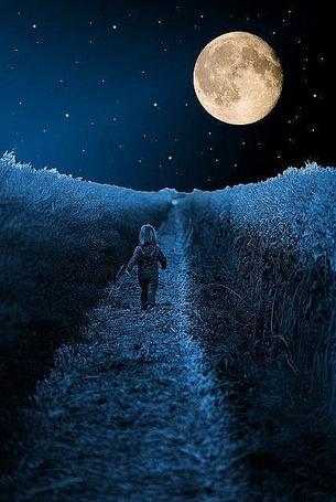 Фото маленькая девочка идет по ночной