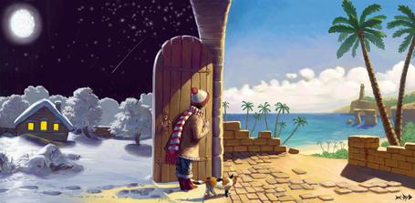 Фото Мальчик с котом, идет с вечернего зимнего края, с луной и домом, посреди леса, открыл дверь и смотрит на пальмы, ясное небо и море