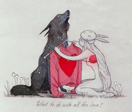 Фото Девушка в одежде зайчика примеряет звездному волку свитер с красным сердцем, который вяжет с ниток из клубочка своего сердца, художница Chiara Bautista (What to do with all this love / Что делать со всей этой любовью?)