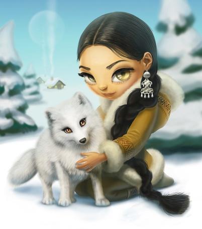 Фото Белая лиса стоит рядом с девушкой, сидящей на снегу, ву kira shakhoval