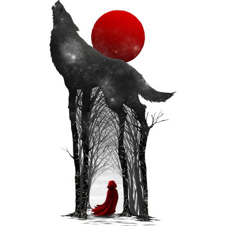 Фото Девушка в красном плаще стоит между деревьями, которые переходят в ноги волка, воющего на полую луну, by Design-By-Humans