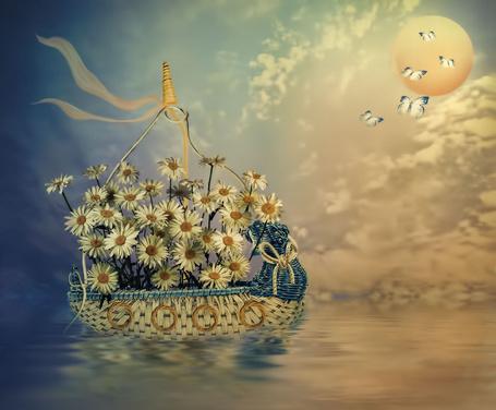 Фото Ромашки в корзине представляют парусник, плывущий по воде, ву Nataliorion