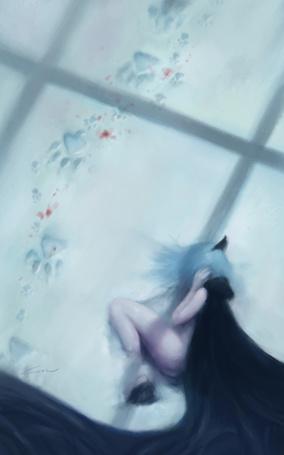 Фото Девушка-волк лежит на снегу, к ней ведут кровавые волчьи следы
