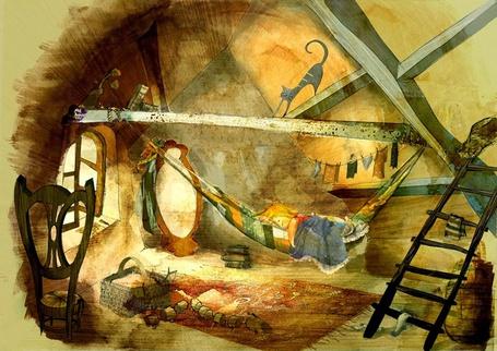 Фото Маленький мальчик спит в гамаке на чердаке, испанский художник Maria Monescillo