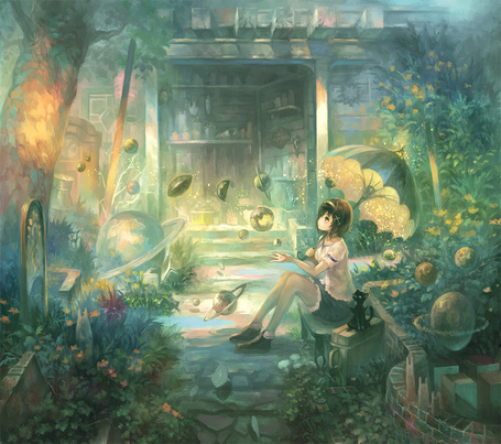 Фото Девушка с зонтиком и крылатая кошка в фантастическом саду, где плавают рыбы и есть планеты