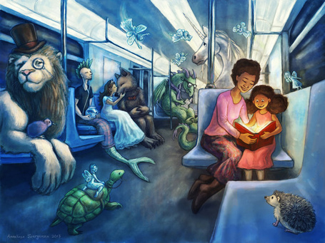 Фото Женщина с ребенком читает книгу, в окружении сказочных персонажей в поезде метро, by Anneliese Juergensen
