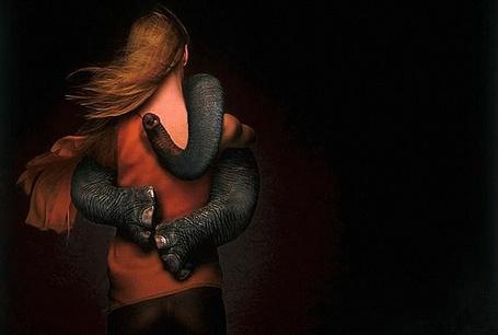 Фото Слоненок обнимает ногами и хоботом, стоящую спиной к нам девушку