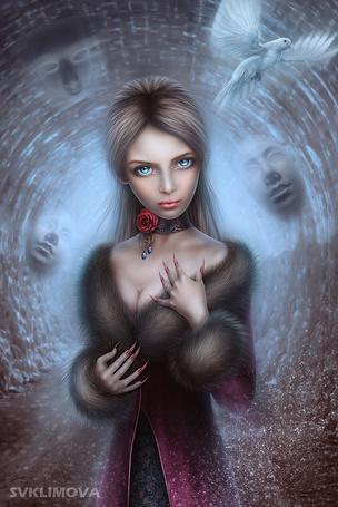 Фото Девушка стоит в пальто с меховым воротником, с украшением на шее в виде красной розы, над ней летит белый попугай, за ней в тоннеле по стенам видны смутные лица людей, автор Svetlana KLimova