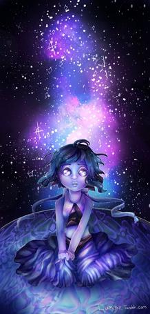 Фото Девочка сидит в магическом круге, на фоне космоса, by Lumipop
