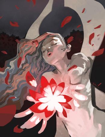 Фото Девушка с развевающимися волосами, с закрытыми глазами и открытым ртом, протягивает руки к цветку