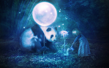 Фото Девочка поливает волшебный цветок, панда с шариком в руках наблюдает