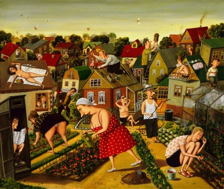 Фото Дачники, занимающиеся своими незатейливыми делами на фоне домиков и зелени дачного городка, художник Валентин Губарев, работа - дача