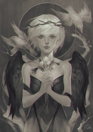 Фото Девушка-ангел держит в руках цветы