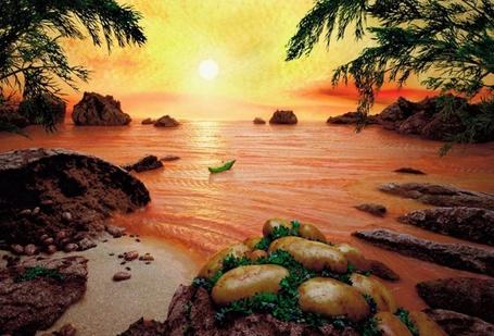 Фото Вкусное солнечное побережье сделанное из различных продуктов, художник Карл Вернер