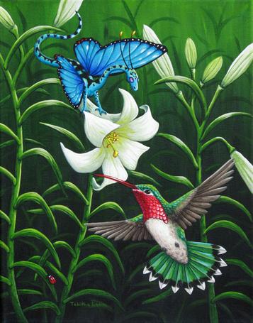 Фото Дракон с крыльями как у бабочки и колибри порхают над белой лилией