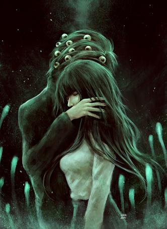 Фото Парень, у которого в волосах глаза, обнимает девушку, art by NanFe