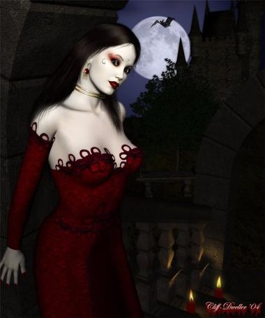 Фото Девушка в красном платье стоит на фоне полной луны