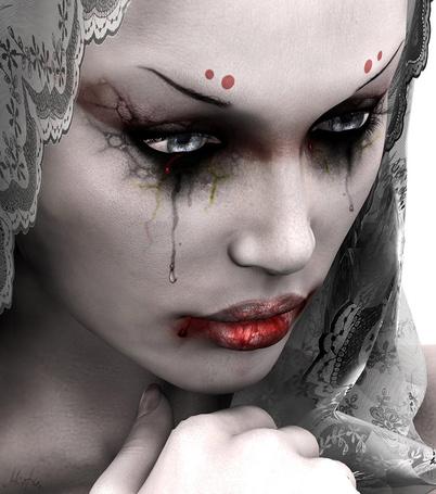 Фото Девушка со слезами на глазах и окровавленными губами на сером фоне