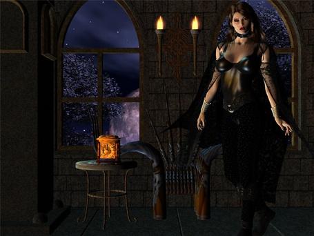 Фото Девушка в замке в черной одежде на фоне факелов