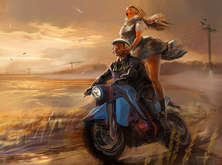 Фото Парень со стоящей сзади на ногах девушкой, катаются на мотоцикле по степи, by Vadim Gousmanov