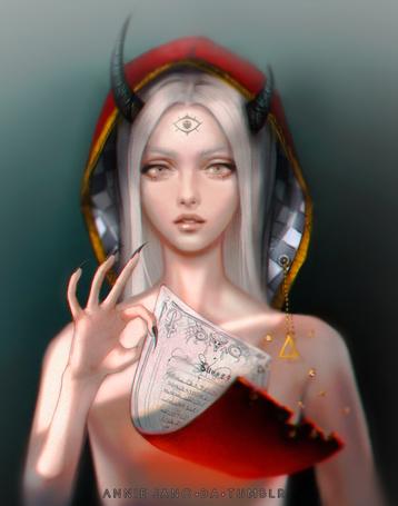 Фото Девушка-демон держит в руках свиток