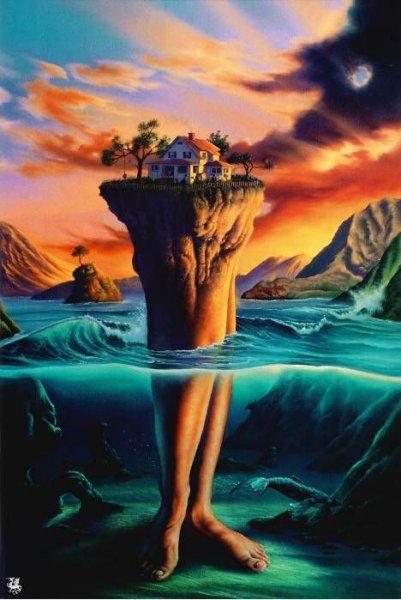 Фото Остров, который держится на человеческих ногах, посреди воды, на острове дом