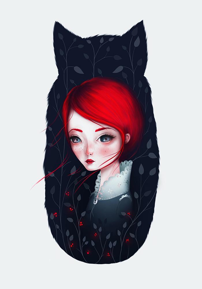 Фото девушка с красными волосами на