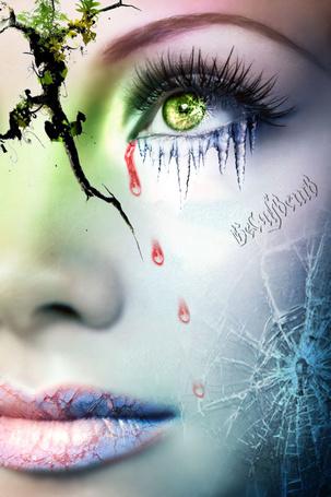 Фото Лицо девушки, с трещинами и слезами (художественная ретушь)