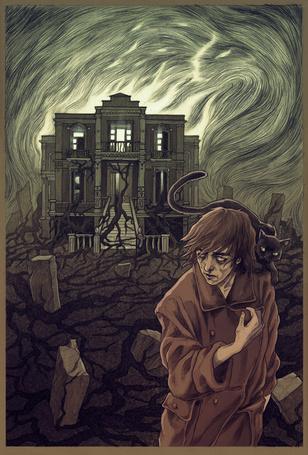Фото Мужчина с кошкой на плече на фоне зловещего дома