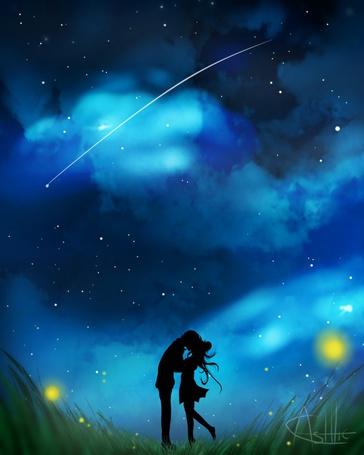 Фото Влюбленная пара на фоне ночного неба, by Ashtic