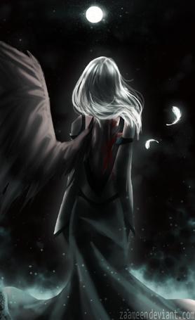 Фото Девушка-ангел с одним крылом, art by zaameen
